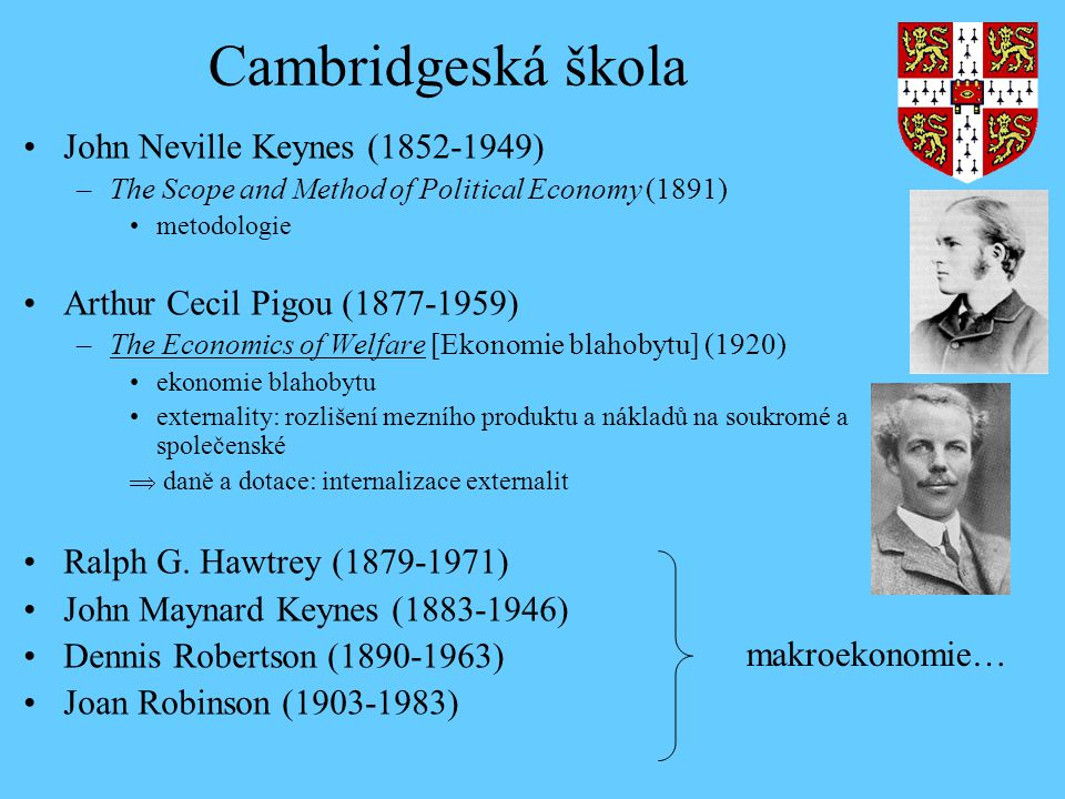 Cambridgeská škola John Neville Keynes (1852-1949) –The Scope and Method of Political Economy (1891) metodologie Arthur Cecil Pigou (1877-1959) –The E