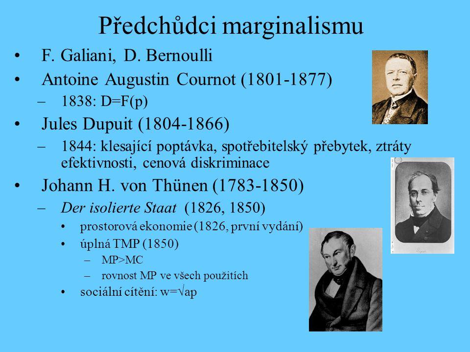 Předchůdci marginalismu F. Galiani, D. Bernoulli Antoine Augustin Cournot (1801-1877) –1838: D=F(p) Jules Dupuit (1804-1866) –1844: klesající poptávka
