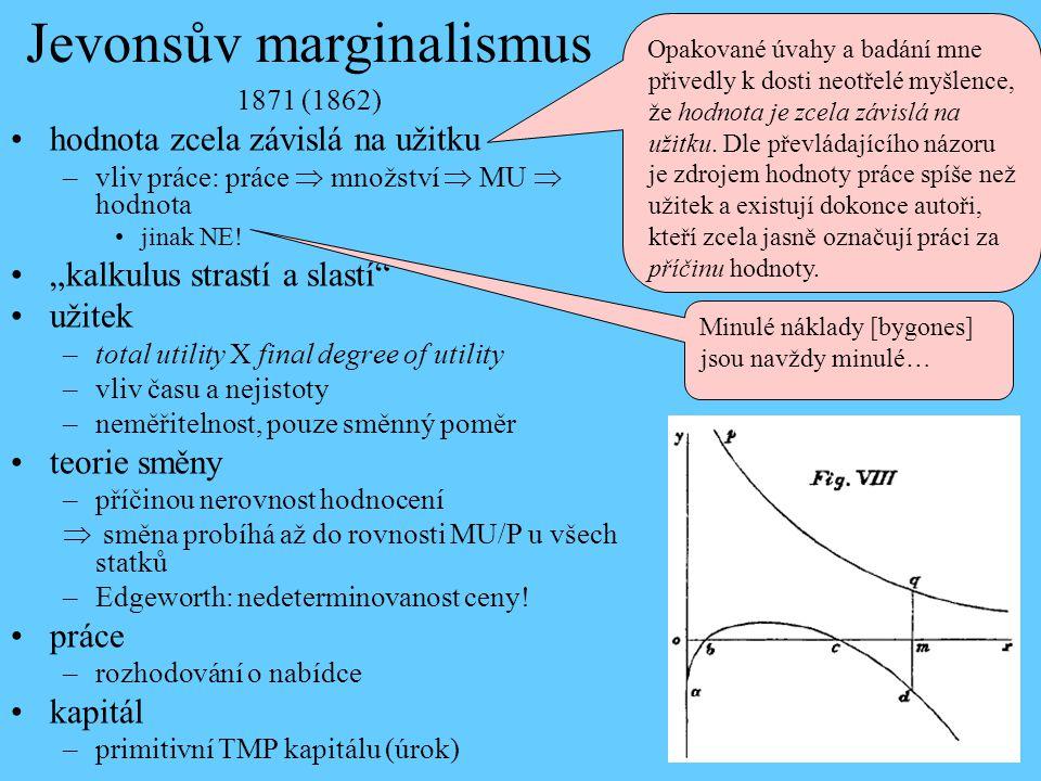 """Jevonsův marginalismus 1871 (1862) hodnota zcela závislá na užitku –vliv práce: práce  množství  MU  hodnota jinak NE! """"kalkulus strastí a slastí"""""""