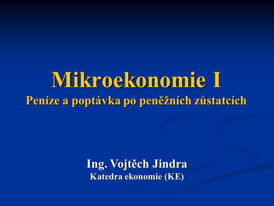 Mikroekonomie I Peníze a poptávka po peněžních zůstatcích Ing.