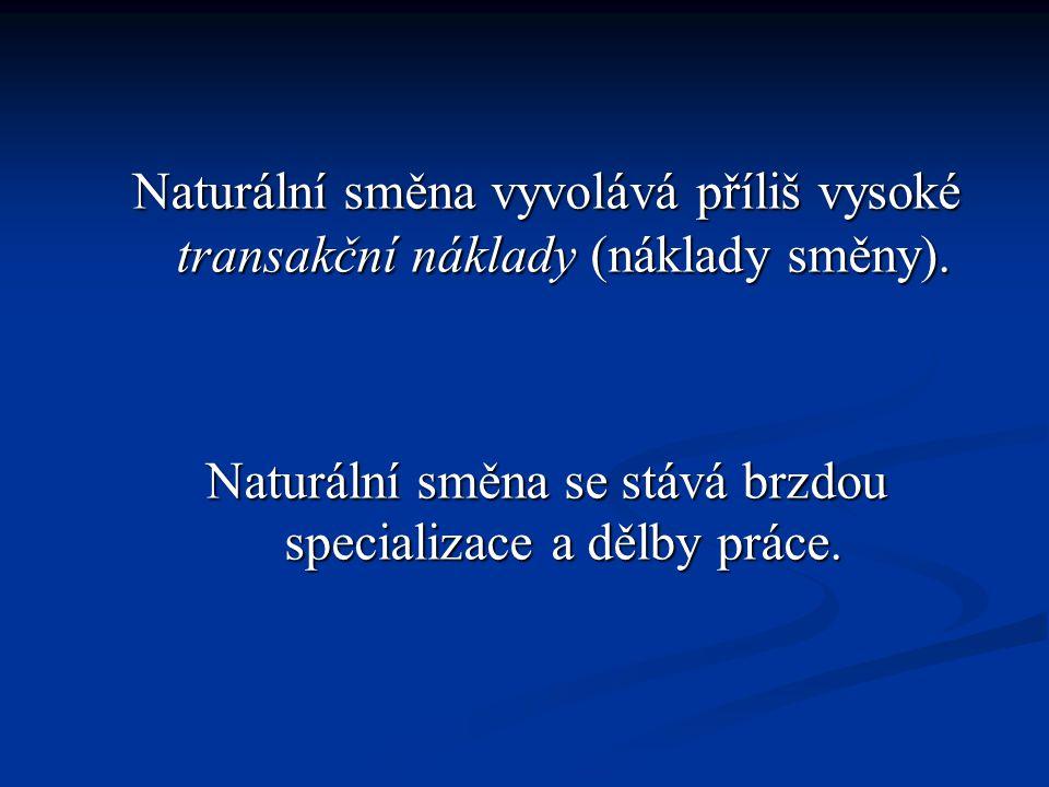 Naturální směna vyvolává příliš vysoké transakční náklady (náklady směny).