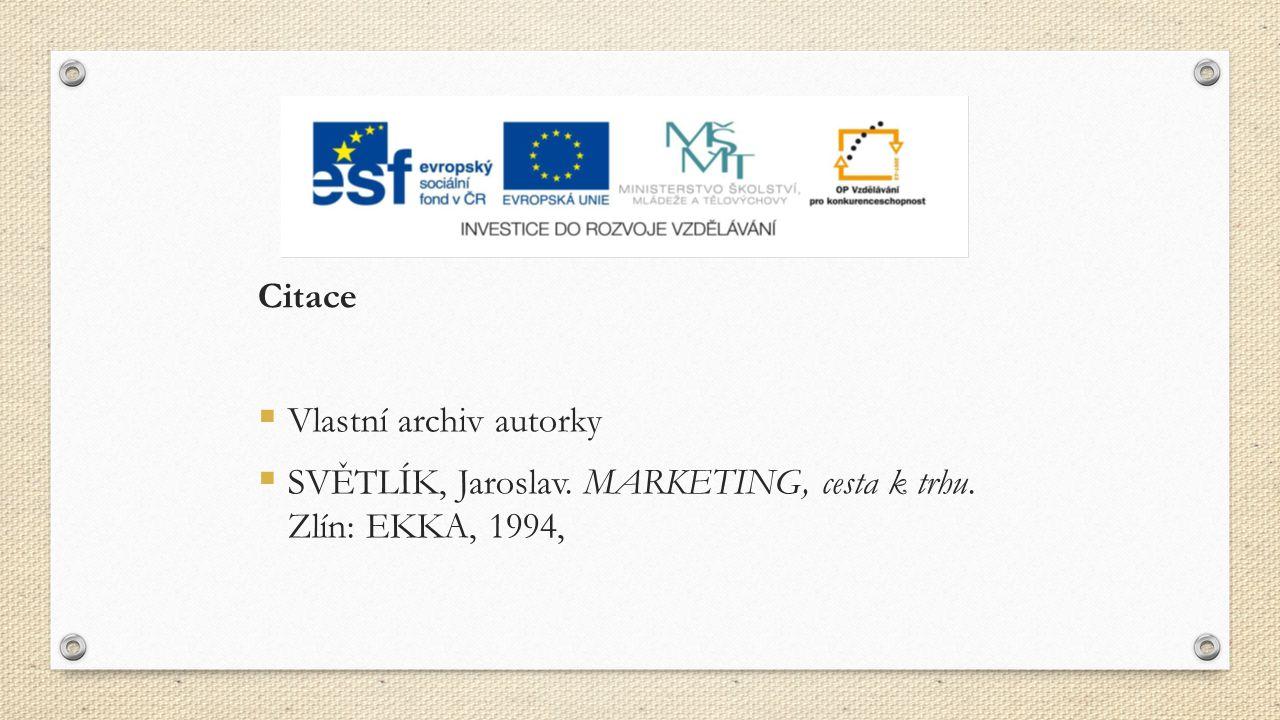 Citace  Vlastní archiv autorky  SVĚTLÍK, Jaroslav. MARKETING, cesta k trhu. Zlín: EKKA, 1994,