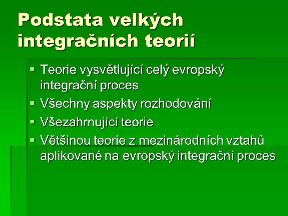 Podstata velkých integračních teorií  Teorie vysvětlující celý evropský integrační proces  Všechny aspekty rozhodování  Všezahrnující teorie  Většinou teorie z mezinárodních vztahů aplikované na evropský integrační proces