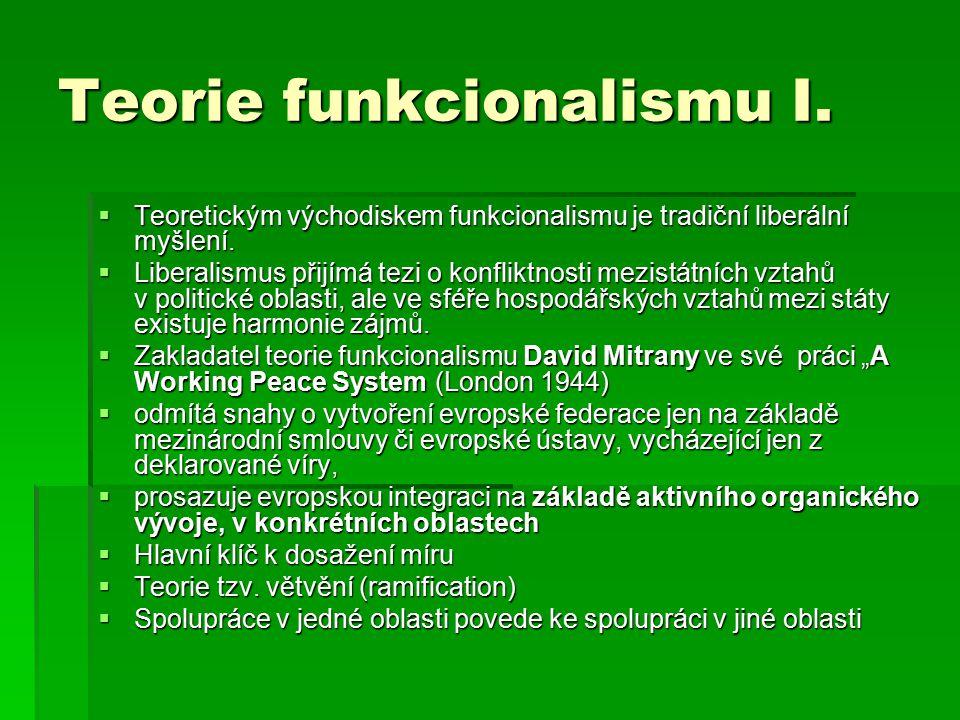 Teorie funkcionalismu I. Teoretickým východiskem funkcionalismu je tradiční liberální myšlení.