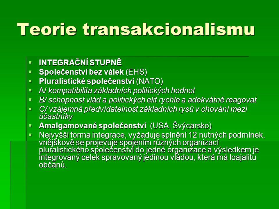 Teorie transakcionalismu  INTEGRAČNÍ STUPNĚ  Společenství bez válek (EHS)  Pluralistické společenství (NATO)  A/ kompatibilita základních politických hodnot  B/ schopnost vlád a politických elit rychle a adekvátně reagovat  C/ vzájemná předvídatelnost základních rysů v chování mezi účastníky  Amalgamované společenství (USA, Švýcarsko)  Nejvyšší forma integrace, vyžaduje splnění 12 nutných podmínek, vnějškově se projevuje spojením různých organizací pluralistického společenství do jedné organizace a výsledkem je integrovaný celek spravovaný jedinou vládou, která má loajalitu občanů.