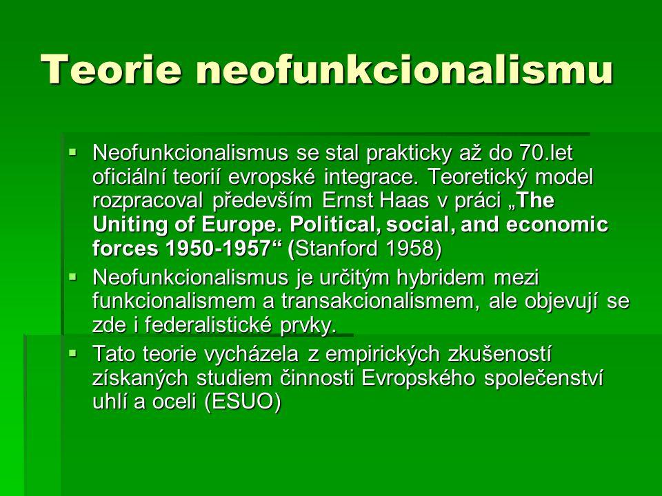 Teorie neofunkcionalismu  Neofunkcionalismus se stal prakticky až do 70.let oficiální teorií evropské integrace.