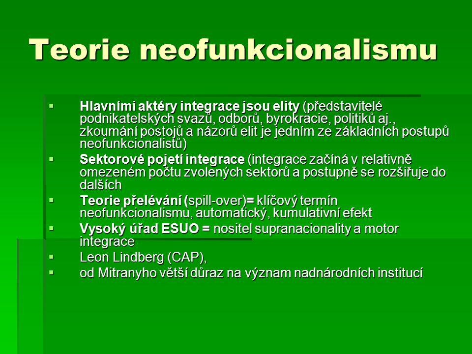 Teorie neofunkcionalismu  Hlavními aktéry integrace jsou elity (představitelé podnikatelských svazů, odborů, byrokracie, politiků aj., zkoumání postojů a názorů elit je jedním ze základních postupů neofunkcionalistů)  Sektorové pojetí integrace (integrace začíná v relativně omezeném počtu zvolených sektorů a postupně se rozšiřuje do dalších  Teorie přelévání (spill-over)= klíčový termín neofunkcionalismu, automatický, kumulativní efekt  Vysoký úřad ESUO = nositel supranacionality a motor integrace  Leon Lindberg (CAP),  od Mitranyho větší důraz na význam nadnárodních institucí