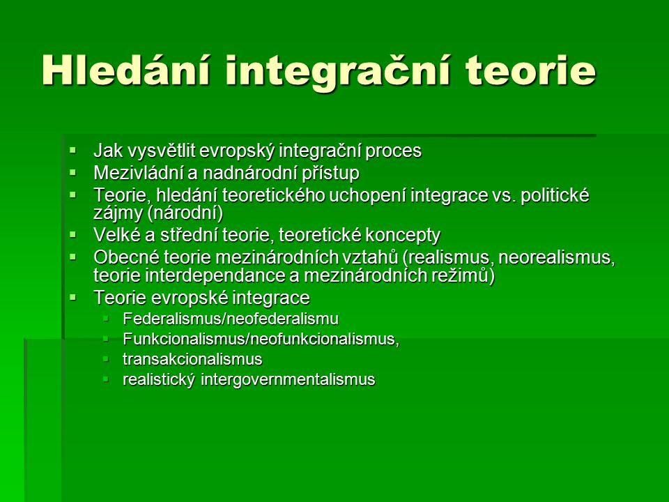 Hledání integrační teorie  Jak vysvětlit evropský integrační proces  Mezivládní a nadnárodní přístup  Teorie, hledání teoretického uchopení integrace vs.