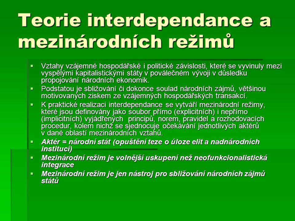 Teorie interdependance a mezinárodních režimů  Vztahy vzájemné hospodářské i politické závislosti, které se vyvinuly mezi vyspělými kapitalistickými státy v poválečném vývoji v důsledku propojování národních ekonomik.