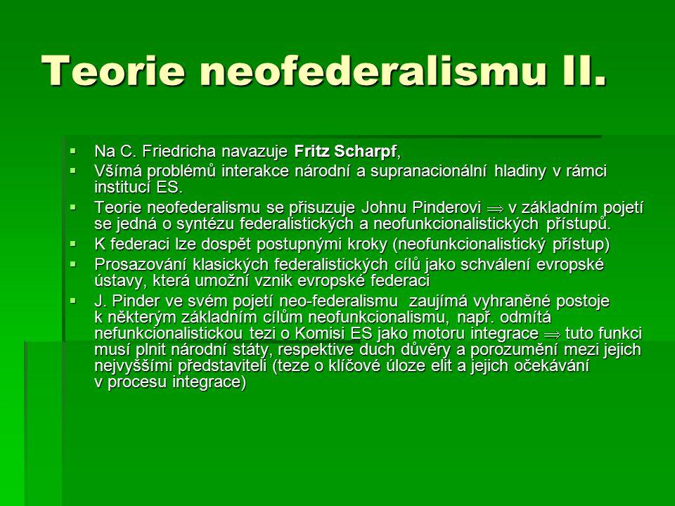 Teorie neofederalismu II. Na C.