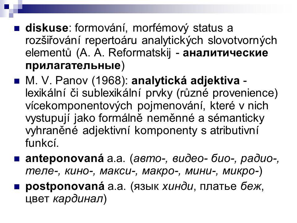 diskuse: formování, morfémový status a rozšiřování repertoáru analytických slovotvorných elementů (A. A. Reformatskij - аналитические прилагательные)