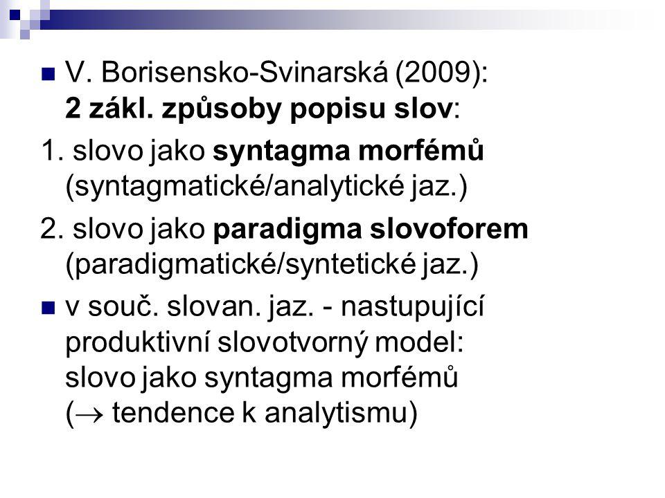 V. Borisensko-Svinarská (2009): 2 zákl. způsoby popisu slov: 1. slovo jako syntagma morfémů (syntagmatické/analytické jaz.) 2. slovo jako paradigma sl