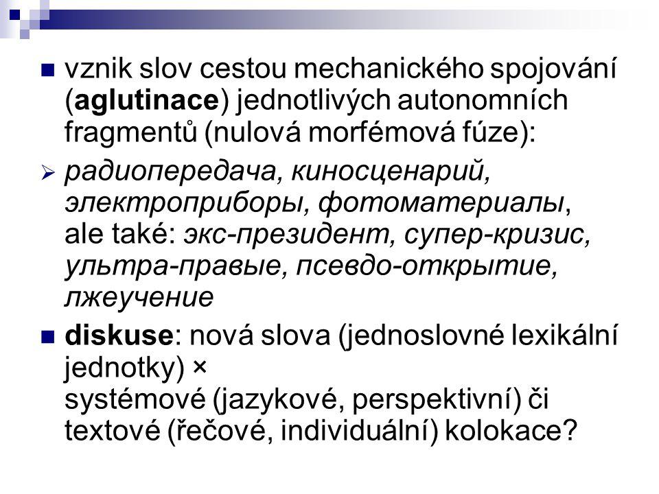 vznik slov cestou mechanického spojování (aglutinace) jednotlivých autonomních fragmentů (nulová morfémová fúze):  радиопередача, киносценарий, элект
