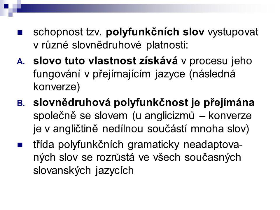 schopnost tzv. polyfunkčních slov vystupovat v různé slovnědruhové platnosti: A. slovo tuto vlastnost získává v procesu jeho fungování v přejímajícím