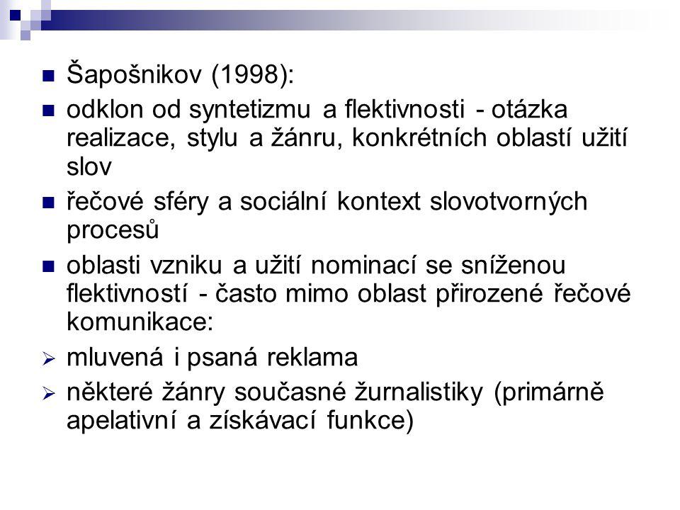 Šapošnikov (1998): odklon od syntetizmu a flektivnosti - otázka realizace, stylu a žánru, konkrétních oblastí užití slov řečové sféry a sociální konte