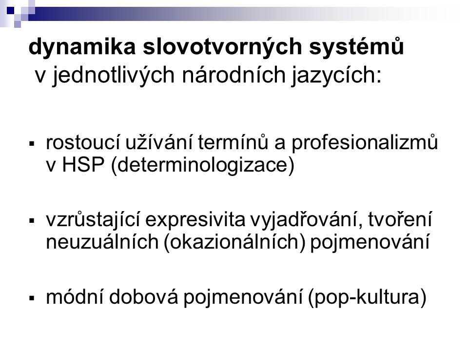 dynamika slovotvorných systémů v jednotlivých národních jazycích:  rostoucí užívání termínů a profesionalizmů v HSP (determinologizace)  vzrůstající