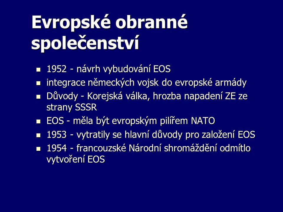 Evropské obranné společenství 1952 - návrh vybudování EOS 1952 - návrh vybudování EOS integrace německých vojsk do evropské armády integrace německých