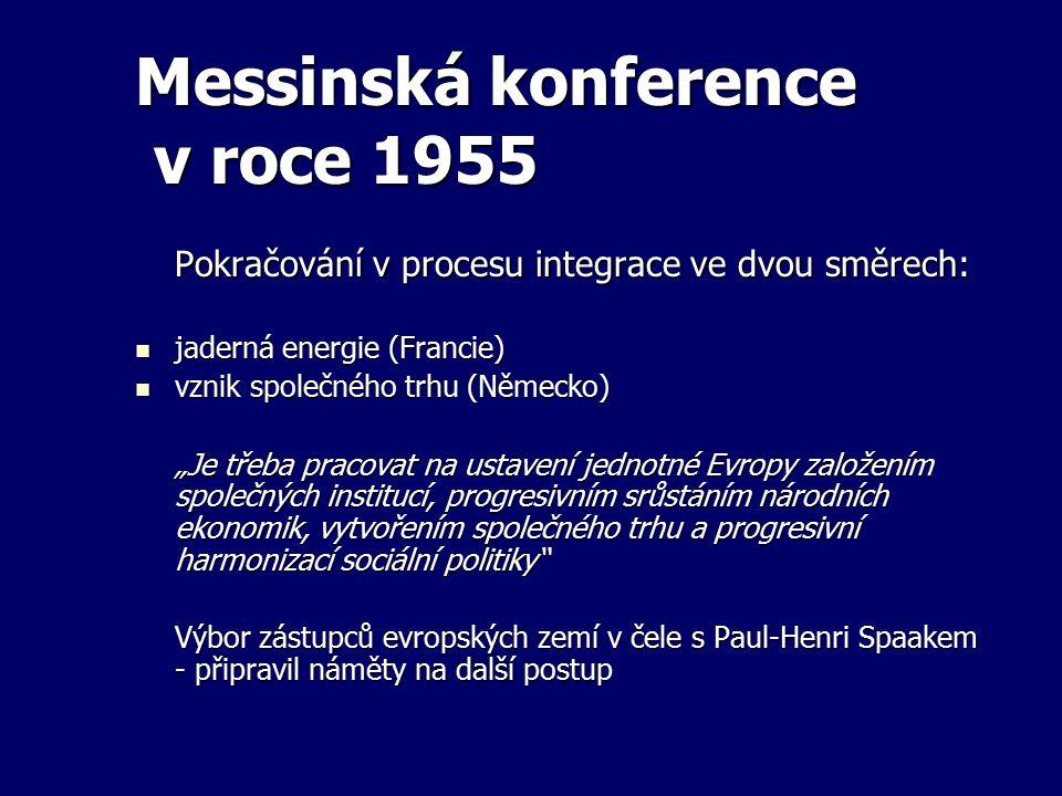 Messinská konference v roce 1955 Pokračování v procesu integrace ve dvou směrech: jaderná energie (Francie) jaderná energie (Francie) vznik společného