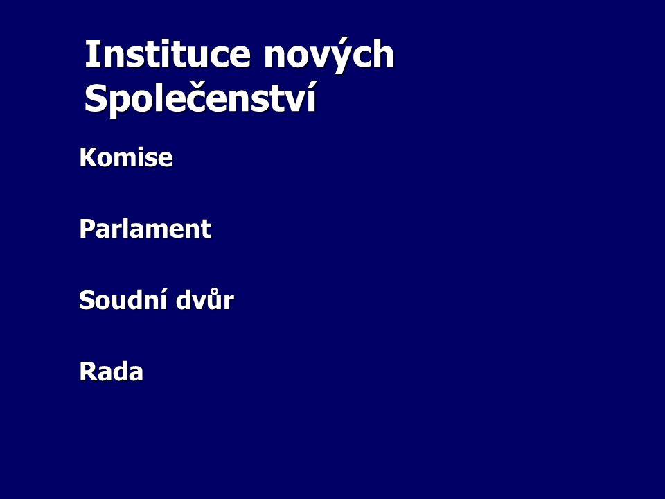 Instituce nových Společenství KomiseParlament Soudní dvůr Rada