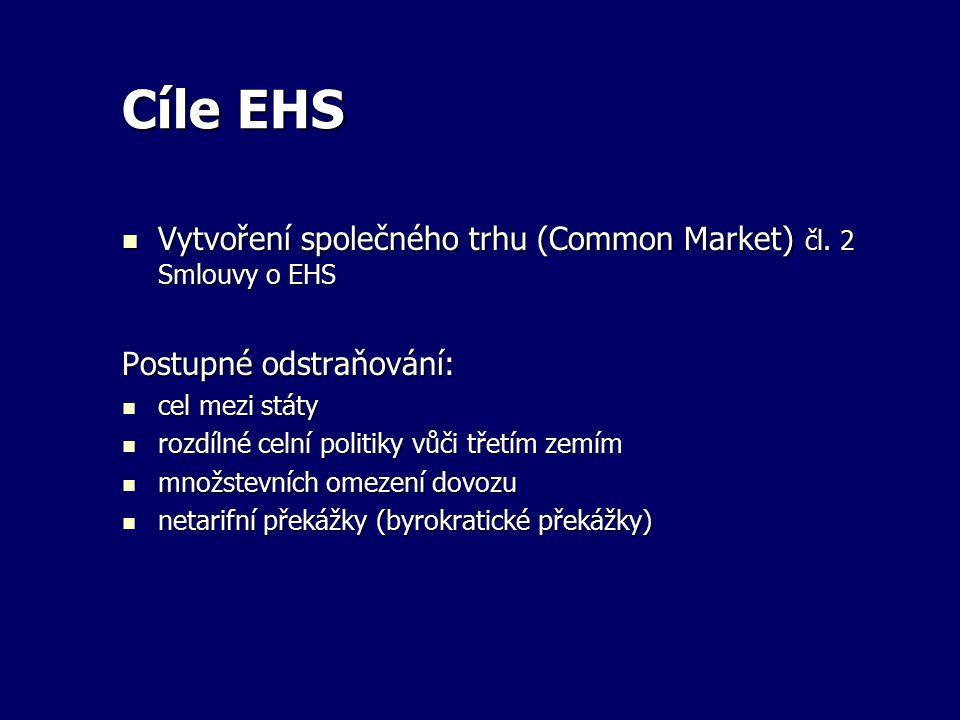 Cíle EHS Vytvoření společného trhu (Common Market) čl. 2 Smlouvy o EHS Vytvoření společného trhu (Common Market) čl. 2 Smlouvy o EHS Postupné odstraňo