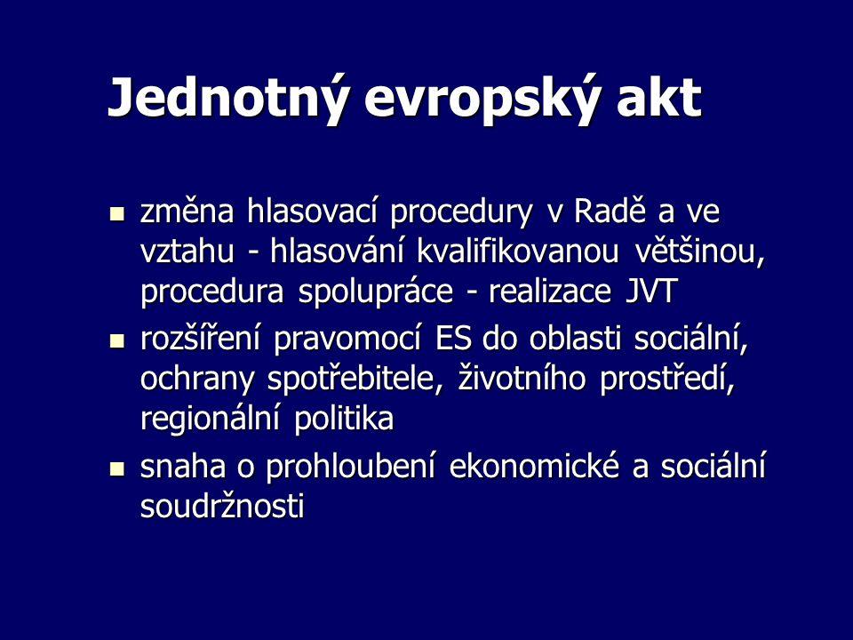 Jednotný evropský akt změna hlasovací procedury v Radě a ve vztahu - hlasování kvalifikovanou většinou, procedura spolupráce - realizace JVT změna hla