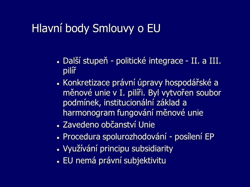 Hlavní body Smlouvy o EU  Další stupeň - politické integrace - II. a III. pilíř  Konkretizace právní úpravy hospodářské a měnové unie v I. pilíři. B