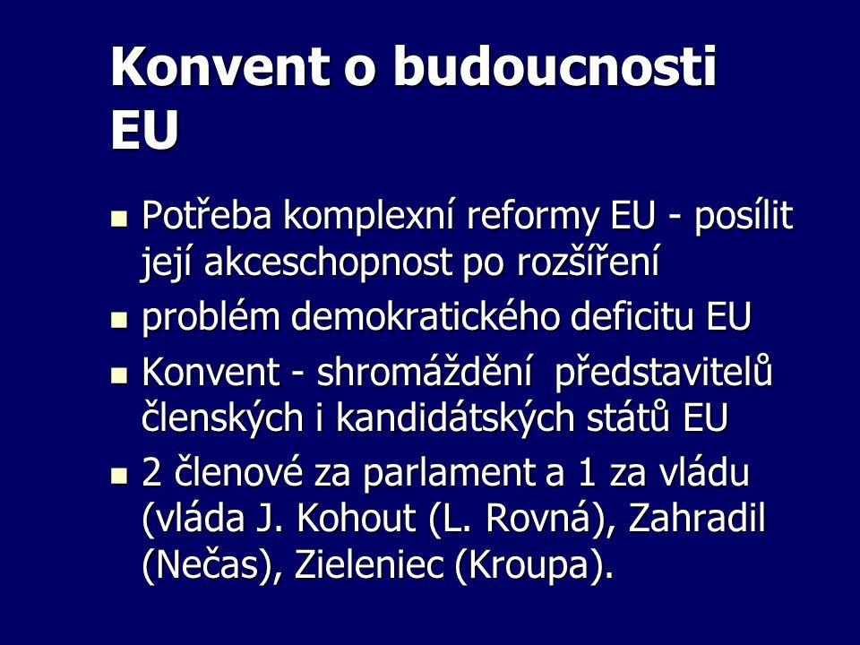 Konvent o budoucnosti EU Potřeba komplexní reformy EU - posílit její akceschopnost po rozšíření Potřeba komplexní reformy EU - posílit její akceschopn