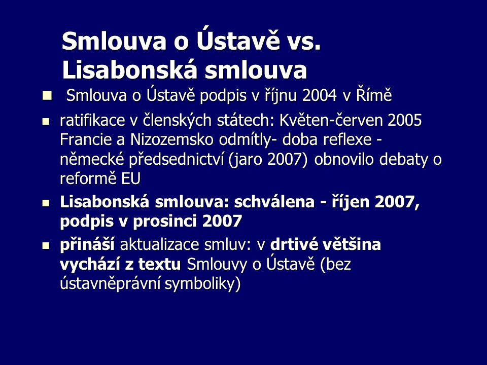 Smlouva o Ústavě vs. Lisabonská smlouva Smlouva o Ústavě podpis v říjnu 2004 v Římě Smlouva o Ústavě podpis v říjnu 2004 v Římě ratifikace v členských