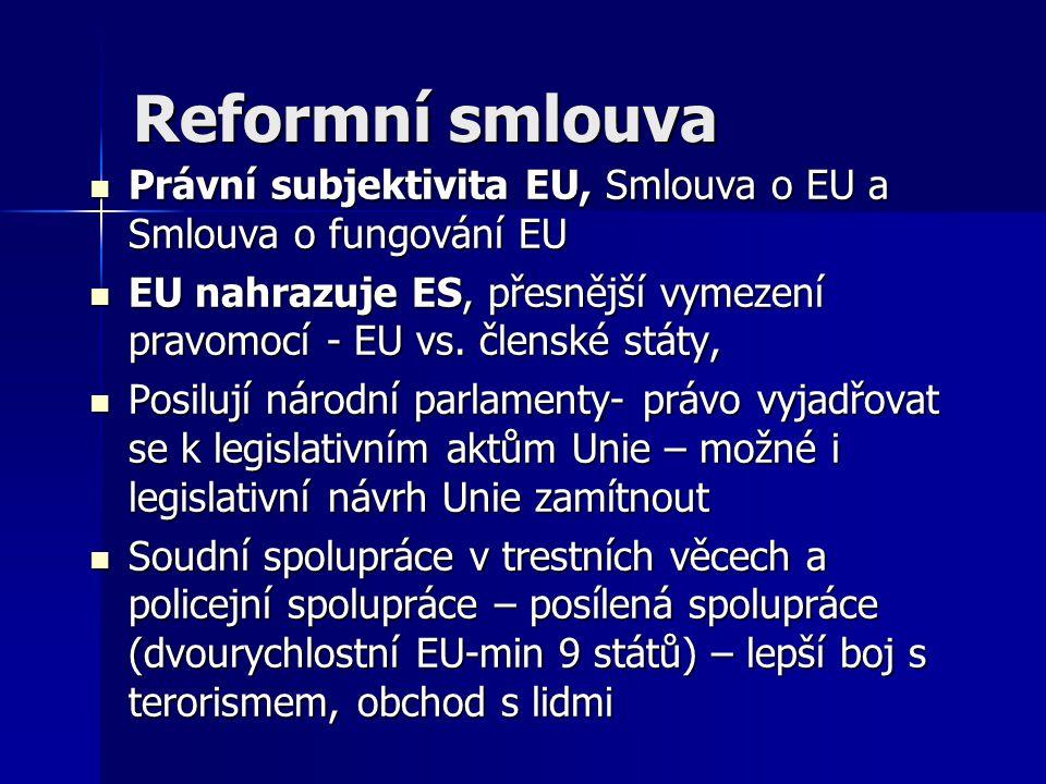 Reformní smlouva Právní subjektivita EU, Smlouva o EU a Smlouva o fungování EU Právní subjektivita EU, Smlouva o EU a Smlouva o fungování EU EU nahraz
