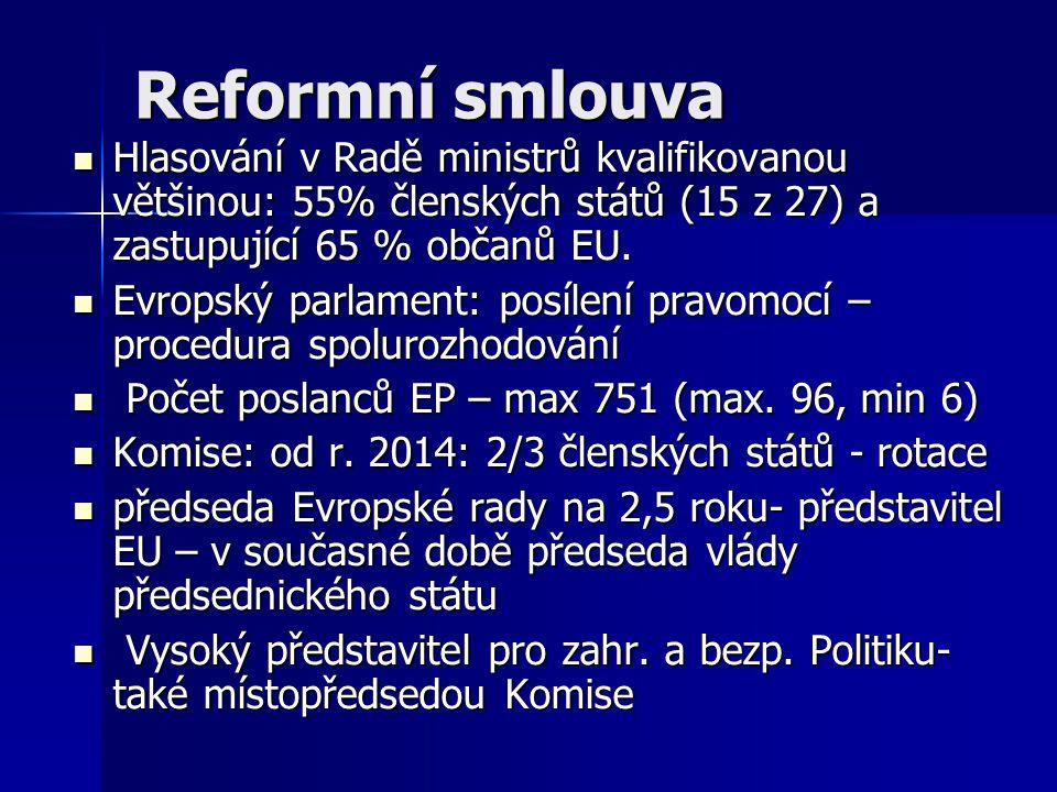 Reformní smlouva Hlasování v Radě ministrů kvalifikovanou většinou: 55% členských států (15 z 27) a zastupující 65 % občanů EU. Hlasování v Radě minis