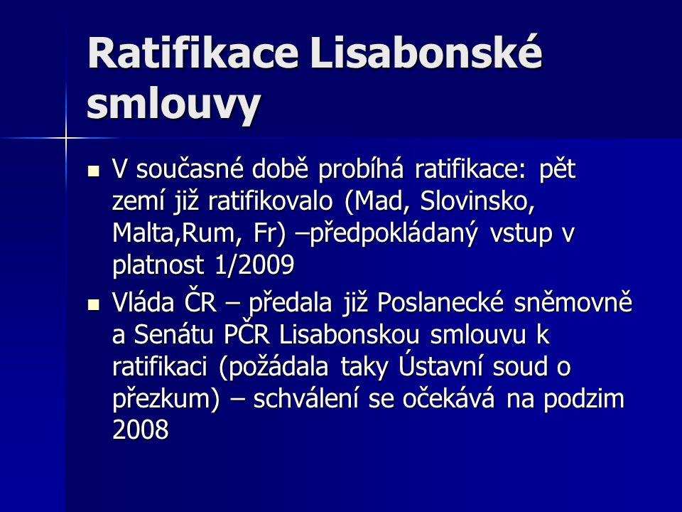 Ratifikace Lisabonské smlouvy V současné době probíhá ratifikace: pět zemí již ratifikovalo (Mad, Slovinsko, Malta,Rum, Fr) –předpokládaný vstup v pla