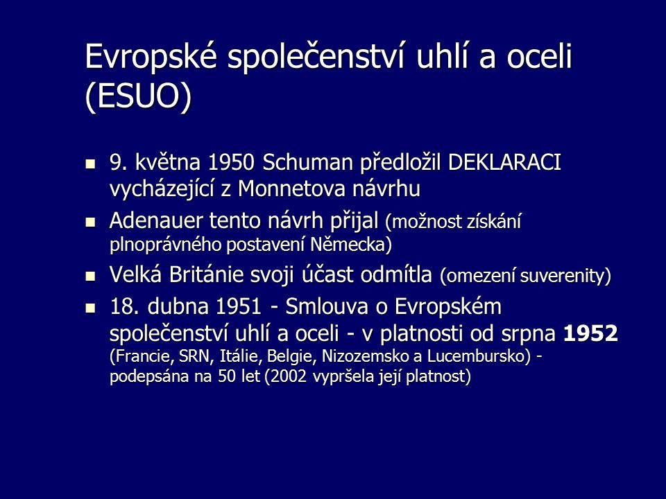 Evropské společenství uhlí a oceli (ESUO) 9. května 1950 Schuman předložil DEKLARACI vycházející z Monnetova návrhu 9. května 1950 Schuman předložil D