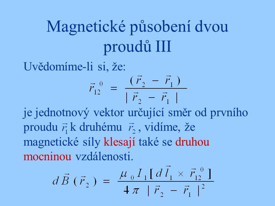Magnetické působení dvou proudů III Uvědomíme-li si, že: je jednotnový vektor určující směr od prvního proudu k druhému, vidíme, že magnetické síly kl