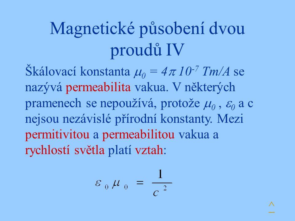Magnetické působení dvou proudů IV Škálovací konstanta  0 = 4  10 -7 Tm/A se nazývá permeabilita vakua. V některých pramenech se nepoužívá, protože