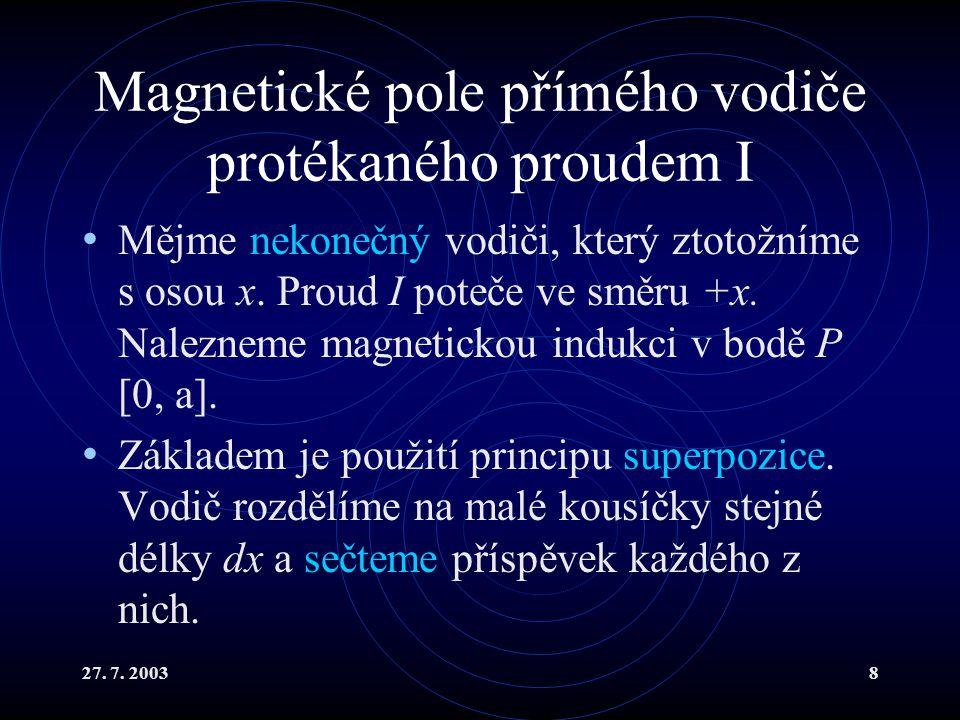 27. 7. 20038 Magnetické pole přímého vodiče protékaného proudem I Mějme nekonečný vodiči, který ztotožníme s osou x. Proud I poteče ve směru +x. Nalez