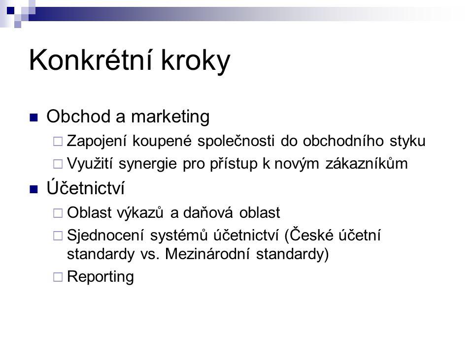 Konkrétní kroky Obchod a marketing  Zapojení koupené společnosti do obchodního styku  Využití synergie pro přístup k novým zákazníkům Účetnictví  O