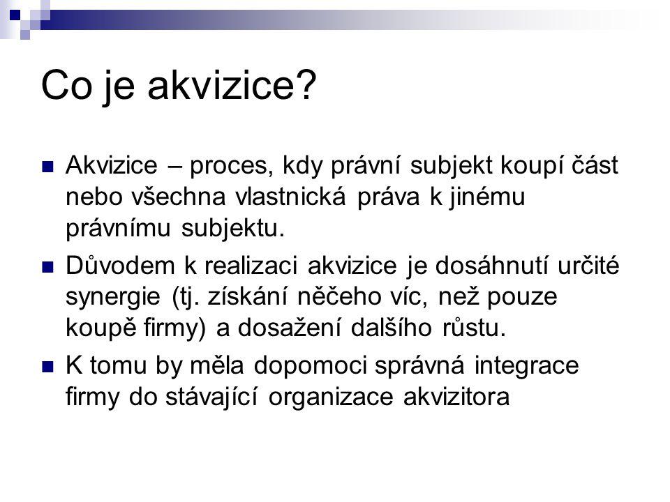 Co je akvizice? Akvizice – proces, kdy právní subjekt koupí část nebo všechna vlastnická práva k jinému právnímu subjektu. Důvodem k realizaci akvizic