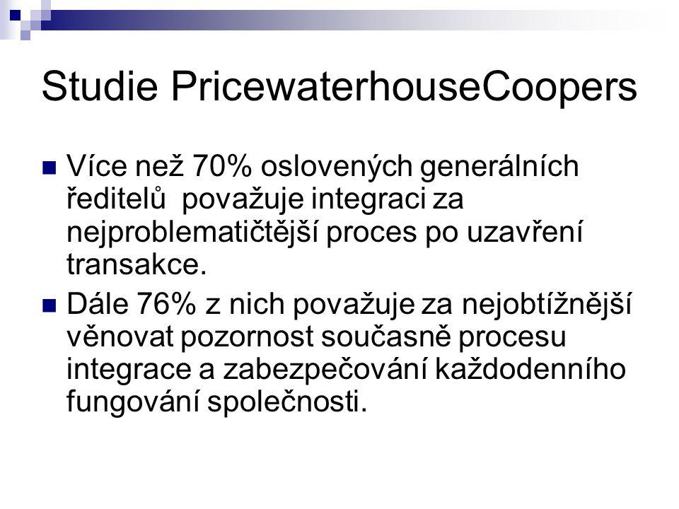 Studie PricewaterhouseCoopers Více než 70% oslovených generálních ředitelů považuje integraci za nejproblematičtější proces po uzavření transakce. Dál