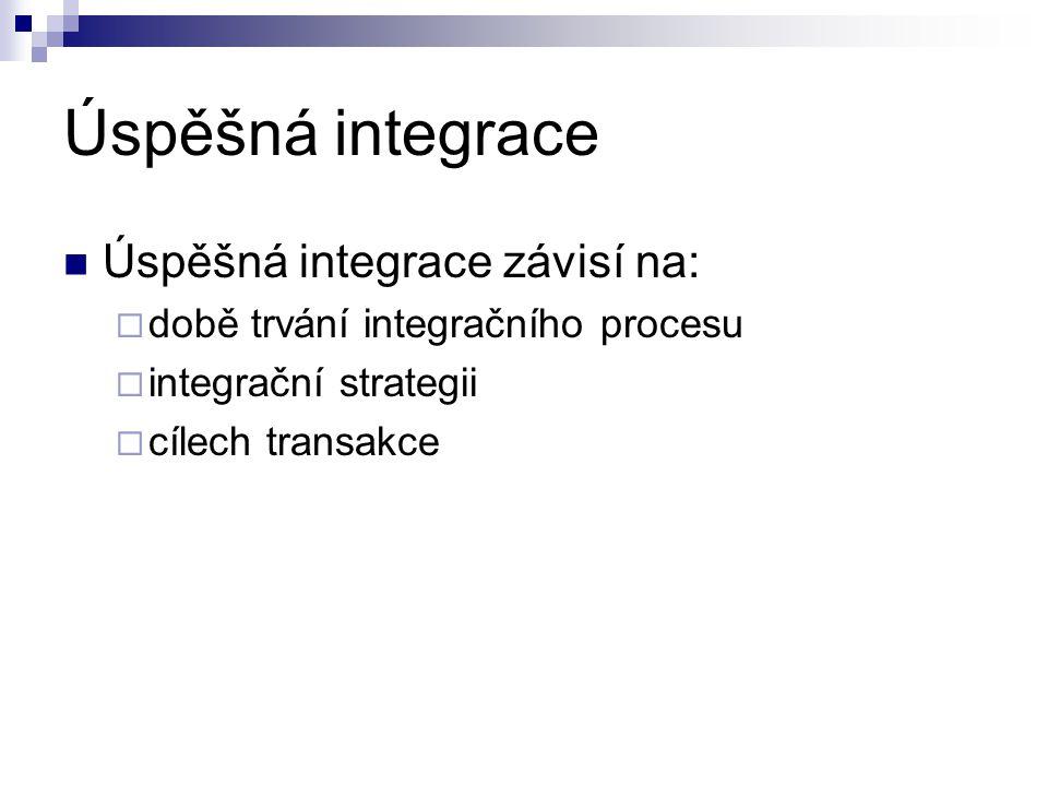 Úspěšná integrace Úspěšná integrace závisí na:  době trvání integračního procesu  integrační strategii  cílech transakce