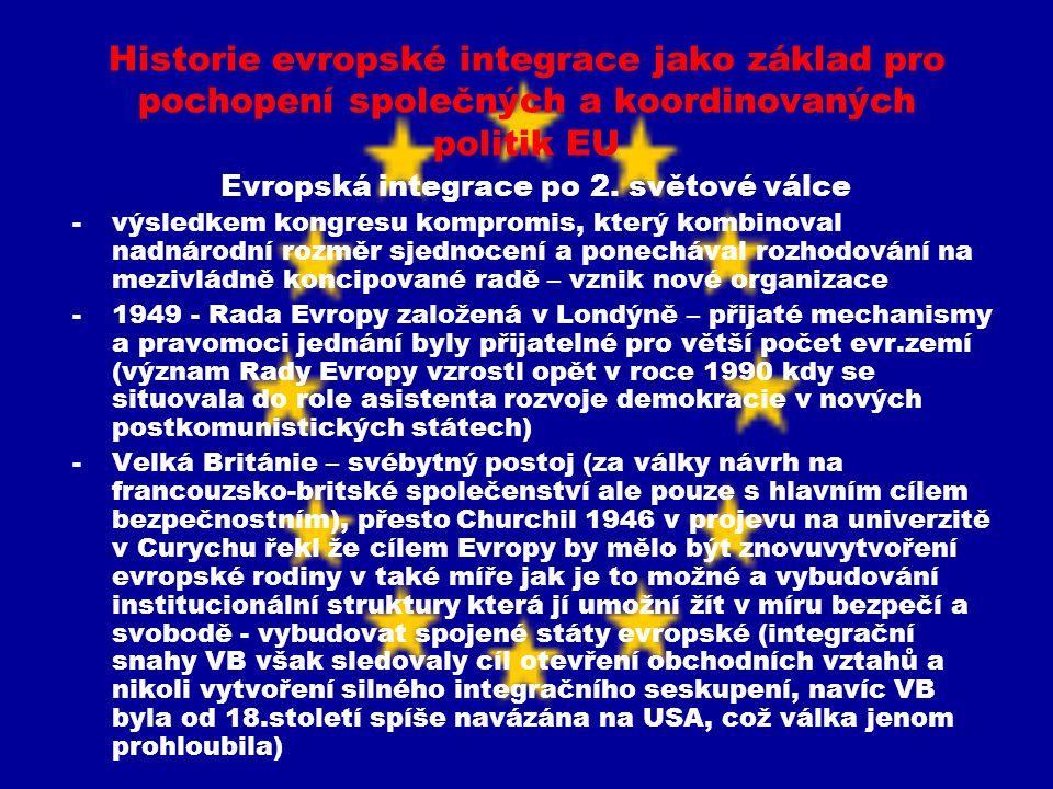 Historie evropské integrace jako základ pro pochopení společných a koordinovaných politik EU Evropská integrace po 2. světové válce -výsledkem kongres