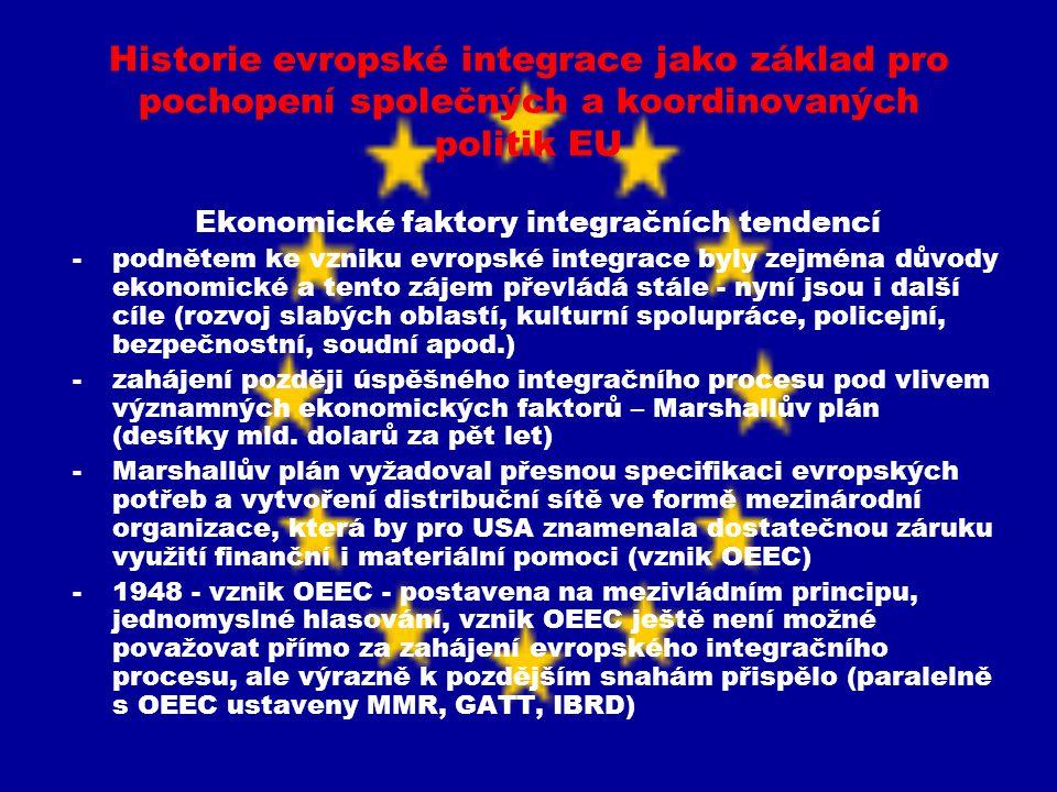 Historie evropské integrace jako základ pro pochopení společných a koordinovaných politik EU Ekonomické faktory integračních tendencí -podnětem ke vzn