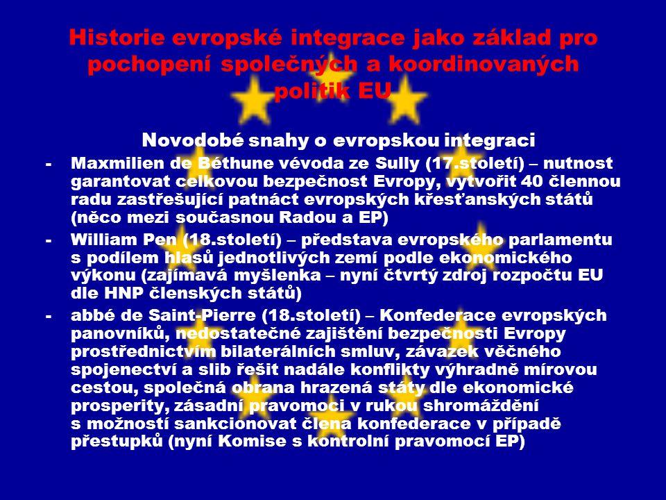 Historie evropské integrace jako základ pro pochopení společných a koordinovaných politik EU Novodobé snahy o evropskou integraci -Maxmilien de Béthun