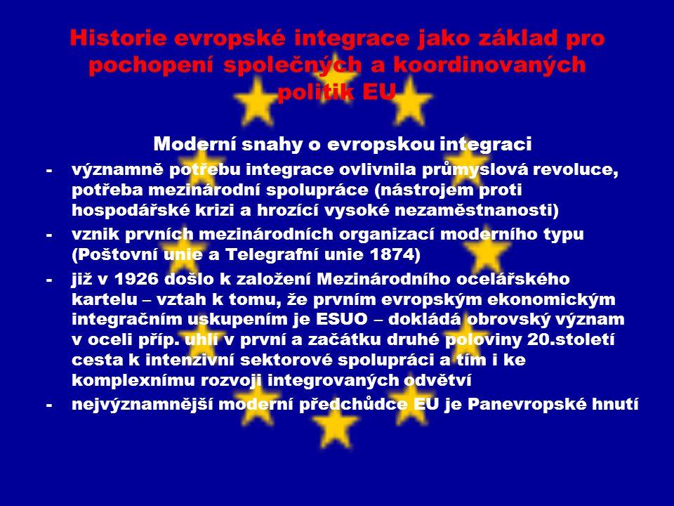Historie evropské integrace jako základ pro pochopení společných a koordinovaných politik EU Moderní snahy o evropskou integraci -významně potřebu int