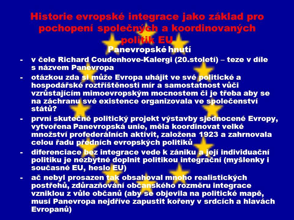 Historie evropské integrace jako základ pro pochopení společných a koordinovaných politik EU Panevropské hnutí -v čele Richard Coudenhove-Kalergi (20.