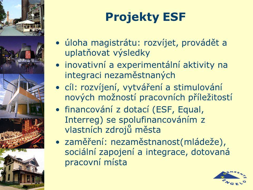 Projekty ESF úloha magistrátu: rozvíjet, provádět a uplatňovat výsledky inovativní a experimentální aktivity na integraci nezaměstnaných cíl: rozvíjení, vytváření a stimulování nových možností pracovních příležitostí financování z dotací (ESF, Equal, Interreg) se spolufinancováním z vlastních zdrojů města zaměření: nezaměstnanost(mládeže), sociální zapojení a integrace, dotovaná pracovní místa