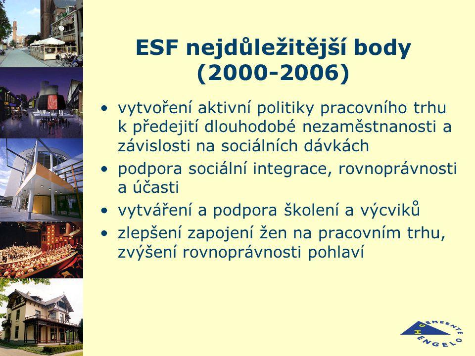 ESF nejdůležitější body (2000-2006) vytvoření aktivní politiky pracovního trhu k předejití dlouhodobé nezaměstnanosti a závislosti na sociálních dávkách podpora sociální integrace, rovnoprávnosti a účasti vytváření a podpora školení a výcviků zlepšení zapojení žen na pracovním trhu, zvýšení rovnoprávnosti pohlaví
