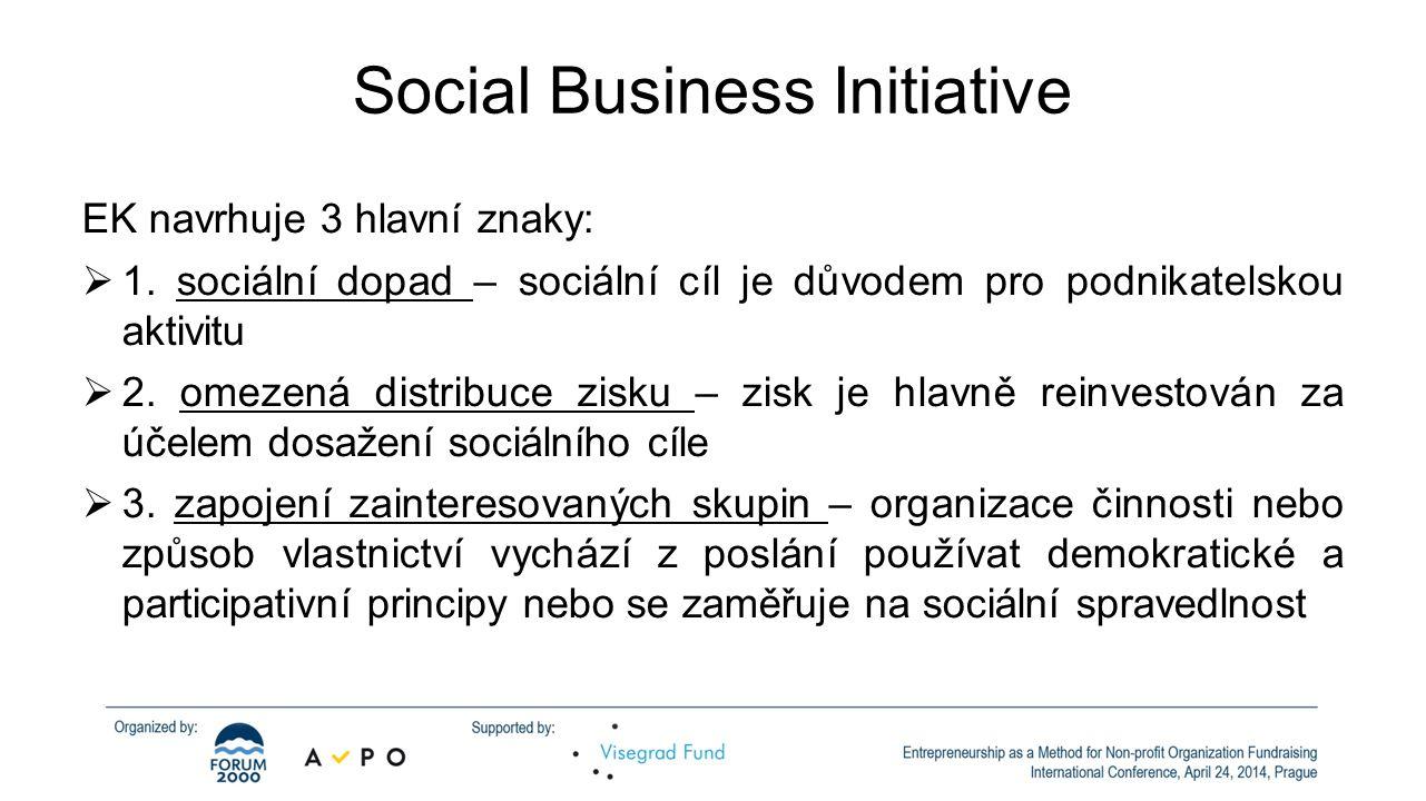 Social Business Initiative EK navrhuje 3 hlavní znaky:  1.