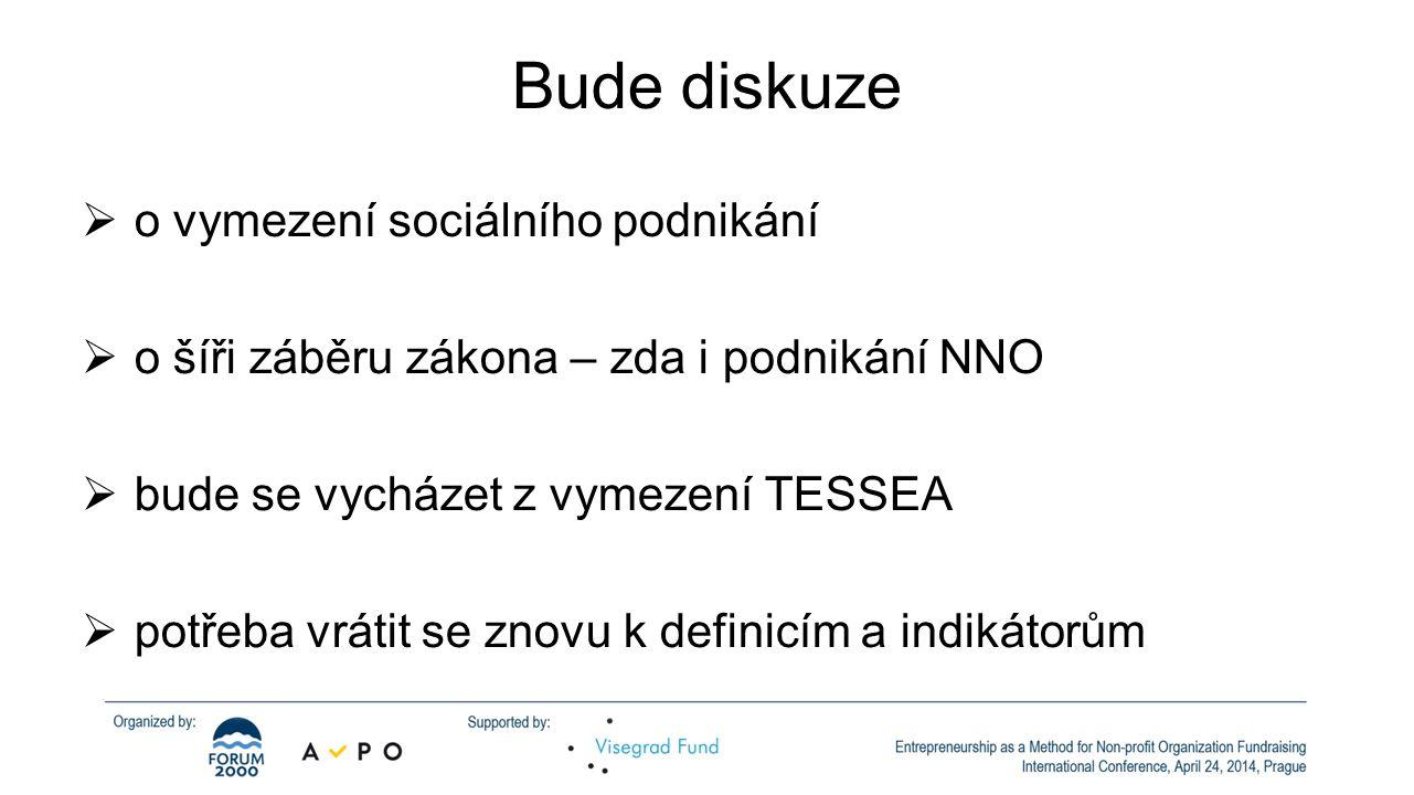 Bude diskuze  o vymezení sociálního podnikání  o šíři záběru zákona – zda i podnikání NNO  bude se vycházet z vymezení TESSEA  potřeba vrátit se znovu k definicím a indikátorům