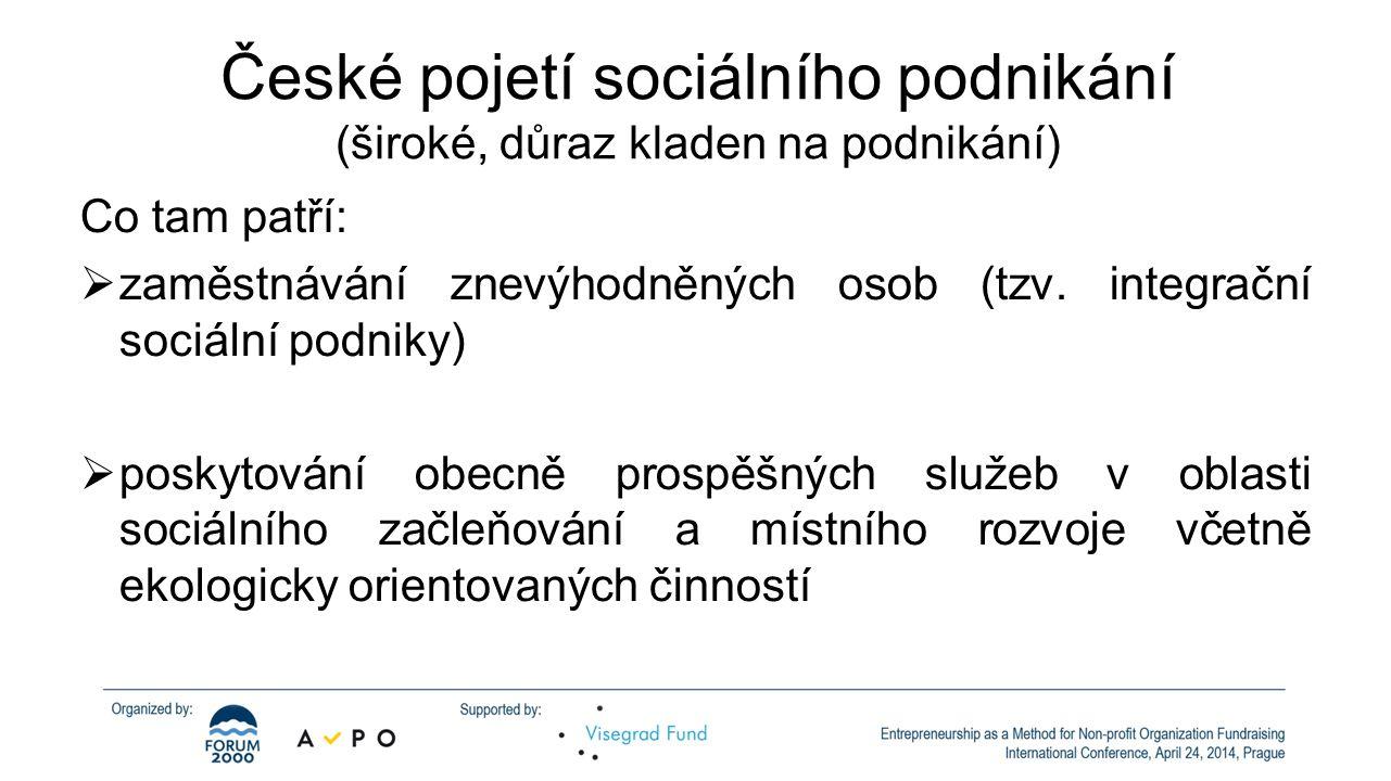 České pojetí sociálního podnikání (široké, důraz kladen na podnikání) Co tam patří:  zaměstnávání znevýhodněných osob (tzv.