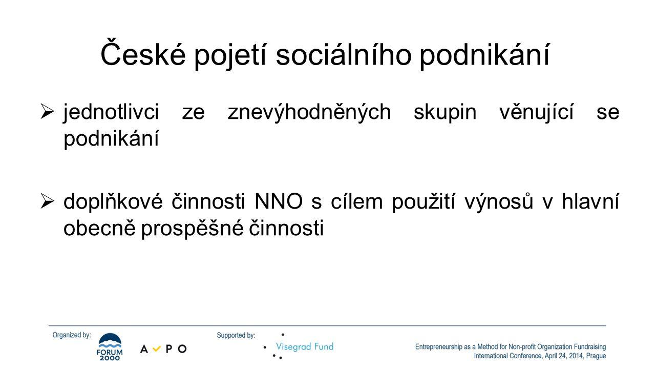 České pojetí sociálního podnikání  jednotlivci ze znevýhodněných skupin věnující se podnikání  doplňkové činnosti NNO s cílem použití výnosů v hlavní obecně prospěšné činnosti